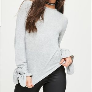 Missguided Gray Tie Cuff Top Sz 10 Long Sleeve Tee